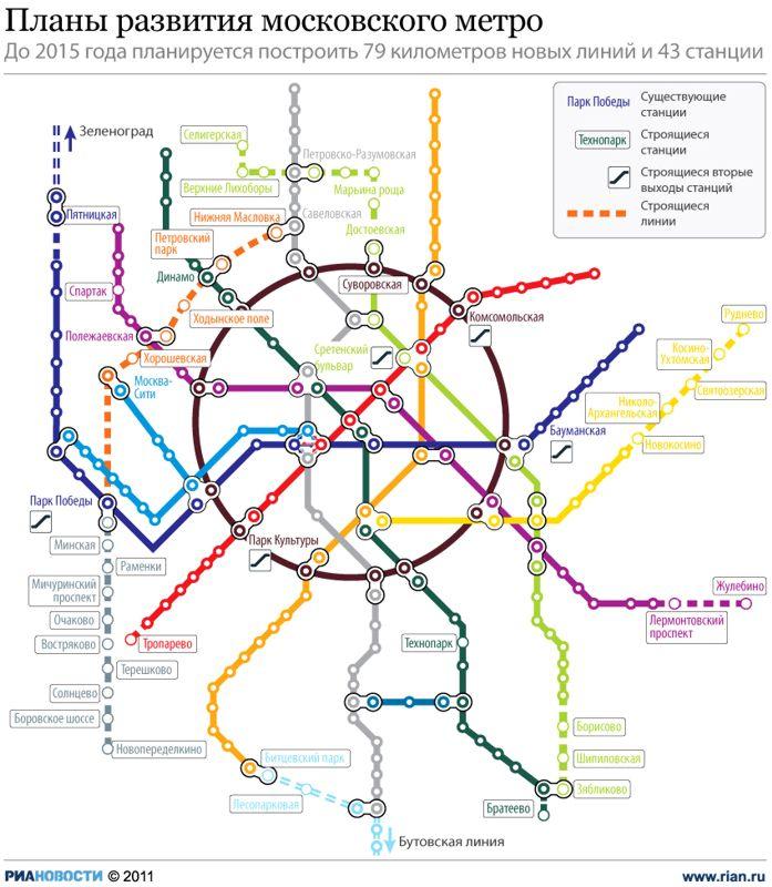 карте Москвы, когда метро